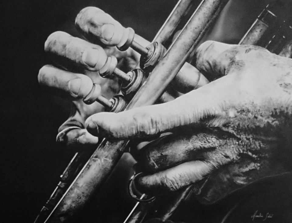 The trumpet player – Airbrush